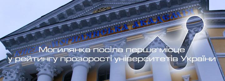 Могилянка посіла перше місце у рейтингу прозорості університетів України