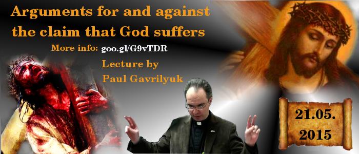 Банер на лекцію Гаврилюка про те що Бог страждає